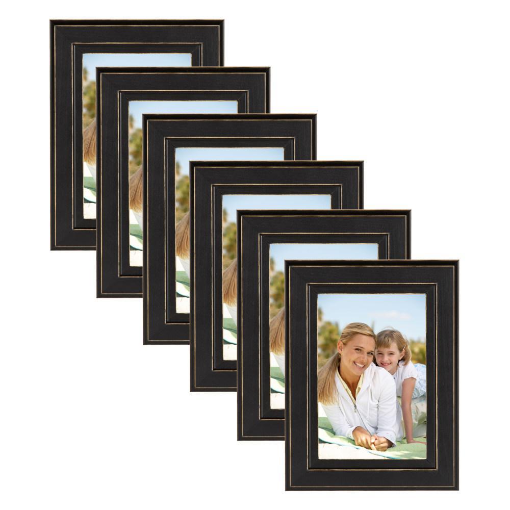 Designovation Kieva 4x6 Black Picture Frame Set Of 6 209132 The