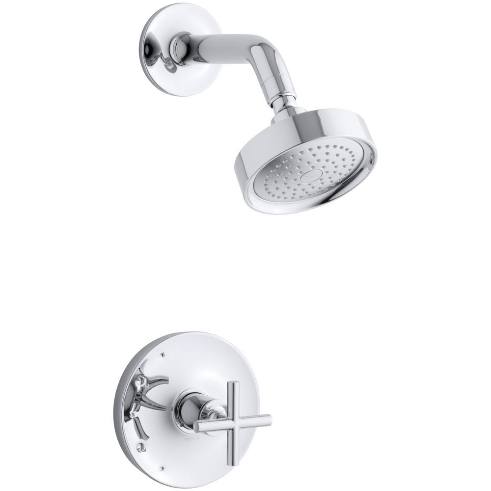 KOHLER Purist 1-Spray 6.5 in. 2.5 GPM Fixed Showerhead with Cross Handle in Polished Chrome