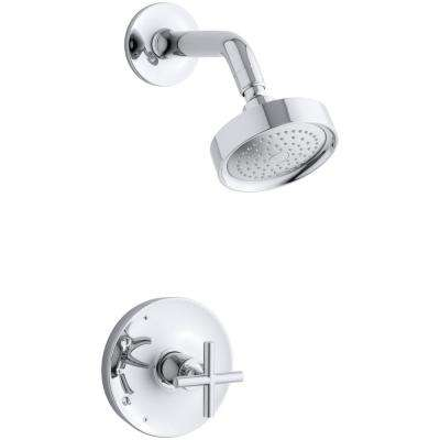 Purist 1-Spray 6.5 in. 2.5 GPM Fixed Showerhead with Cross Handle in Polished Chrome