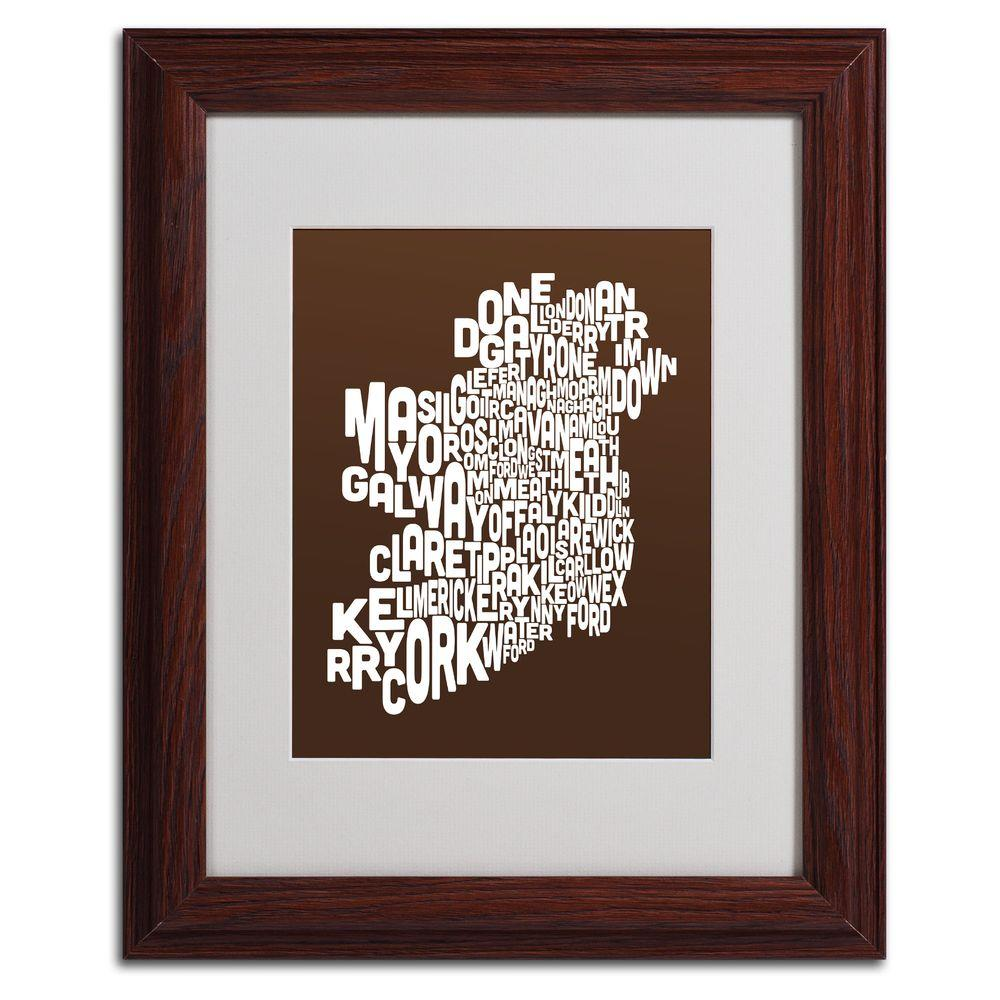 null 11 in. x 14 in. Ireland Text Map - Chocolate Matted Framed Art