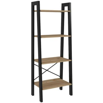 Emery 54 in. x 21 in. Natural Wood Bookshelf with Plated Steel Frame and 4-Shelves