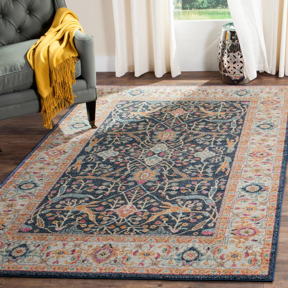 Safavieh Madison Navy Cream 4 Ft X 6 Ft Area Rug Mad612d