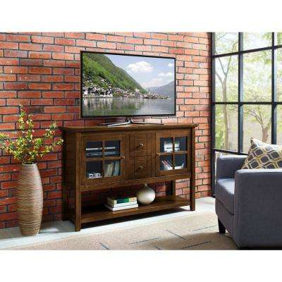 52 in. Walnut Wood Console Table Buffet TV Stand