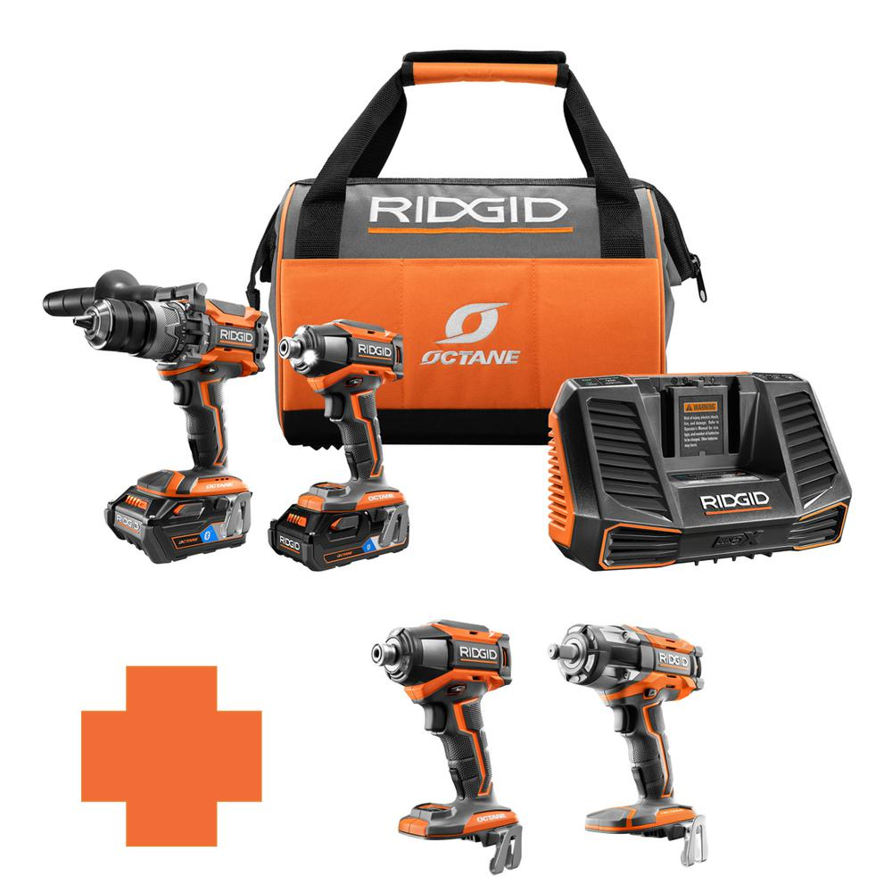RIDGID 18-Volt OCTANE Lithium-Ion Cordless Brushless Combo Kit w/Bonus 1/2 in. Impact Wrench & 6-Mode 1/4 in. Impact Driver