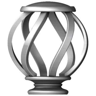 Mix and Match 1 in. Swirl Cage Curtain Rod Finial Set in Brushed Nickel (2-Pack)