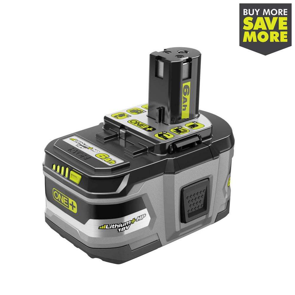RYOBI 18-Volt ONE+ Lithium-Ion 6.0 Ah LITHIUM+ HP High Capacity Battery