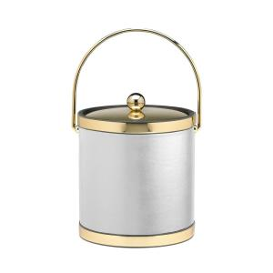 Sophisticates 3 Qt. White and Polished Brass Ice Bucket with Bale Handle and Metal Cover