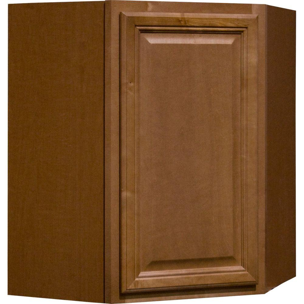 Hampton Bay Cambria Assembled 24x30x12 in. Diagonal Corner Wall Kitchen Cabinet in Harvest