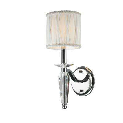 Gatsby Collection 1-Light Chrome Sconce with Clear Crystal