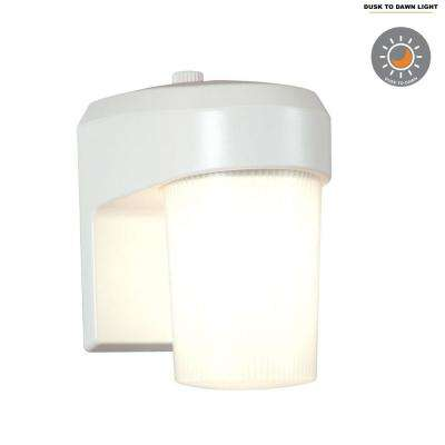 13-Watt White Outdoor Fluorescent Entry Light Sconce with Dusk to Dawn Photocell Sensor