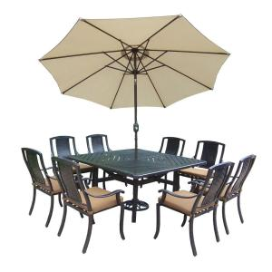 Oakland Living 11-Piece Square Aluminum Patio Dining Set with Sunbrella Canvas Teak... by Oakland Living