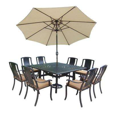 11-Piece Square Aluminum Patio Dining Set with Sunbrella Canvas Teak Cushions and Umbrella