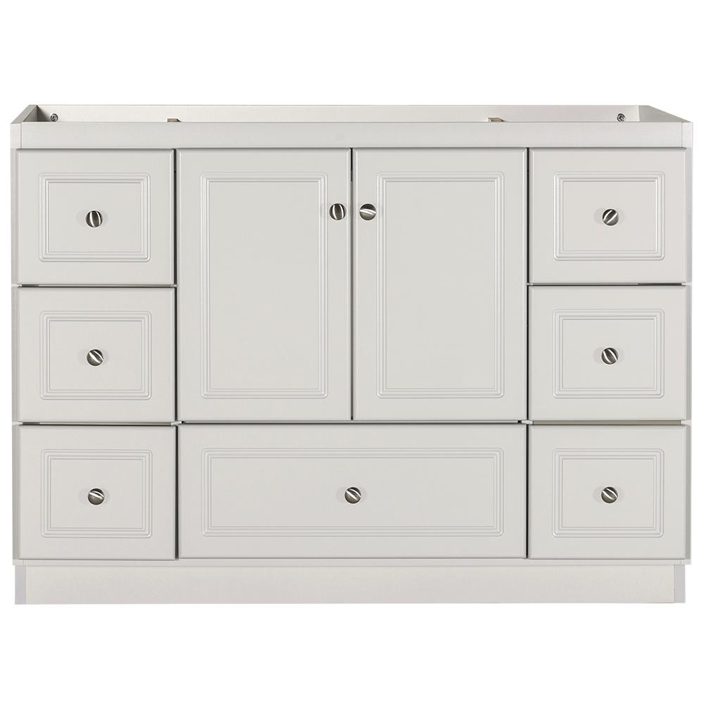 Simplicity by Strasser Ultraline 48 in. W x 21 in. D x 34.5 in. H Bath Vanity Cabinet Only with Center Basins in Dewy Morning
