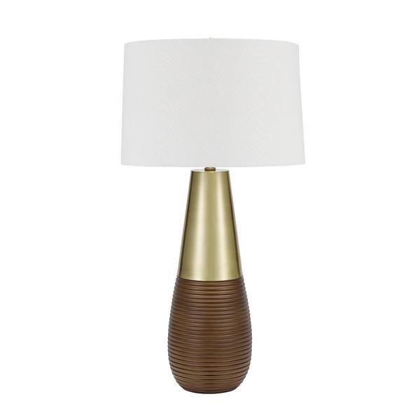 32 in. Champagne and Bronze Contemporary Tapered Gourd Table Lamp