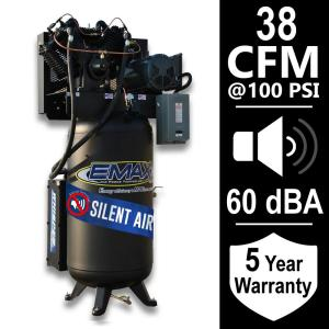 EMAX Industrial Series 80 Gal. 10 HP 1-Phase Silent Air Electric Air Compressor by EMAX