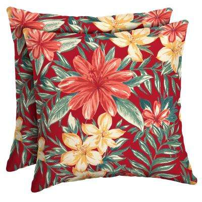 Ruby Clarissa Tropical Square Outdoor Throw Pillow (2-Pack)