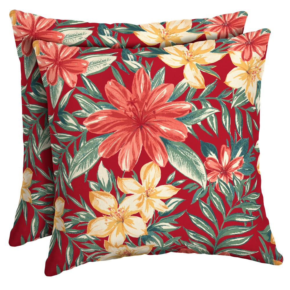 Arden Selections 16 X 16 Ruby Clarissa Tropical Square Outdoor Throw