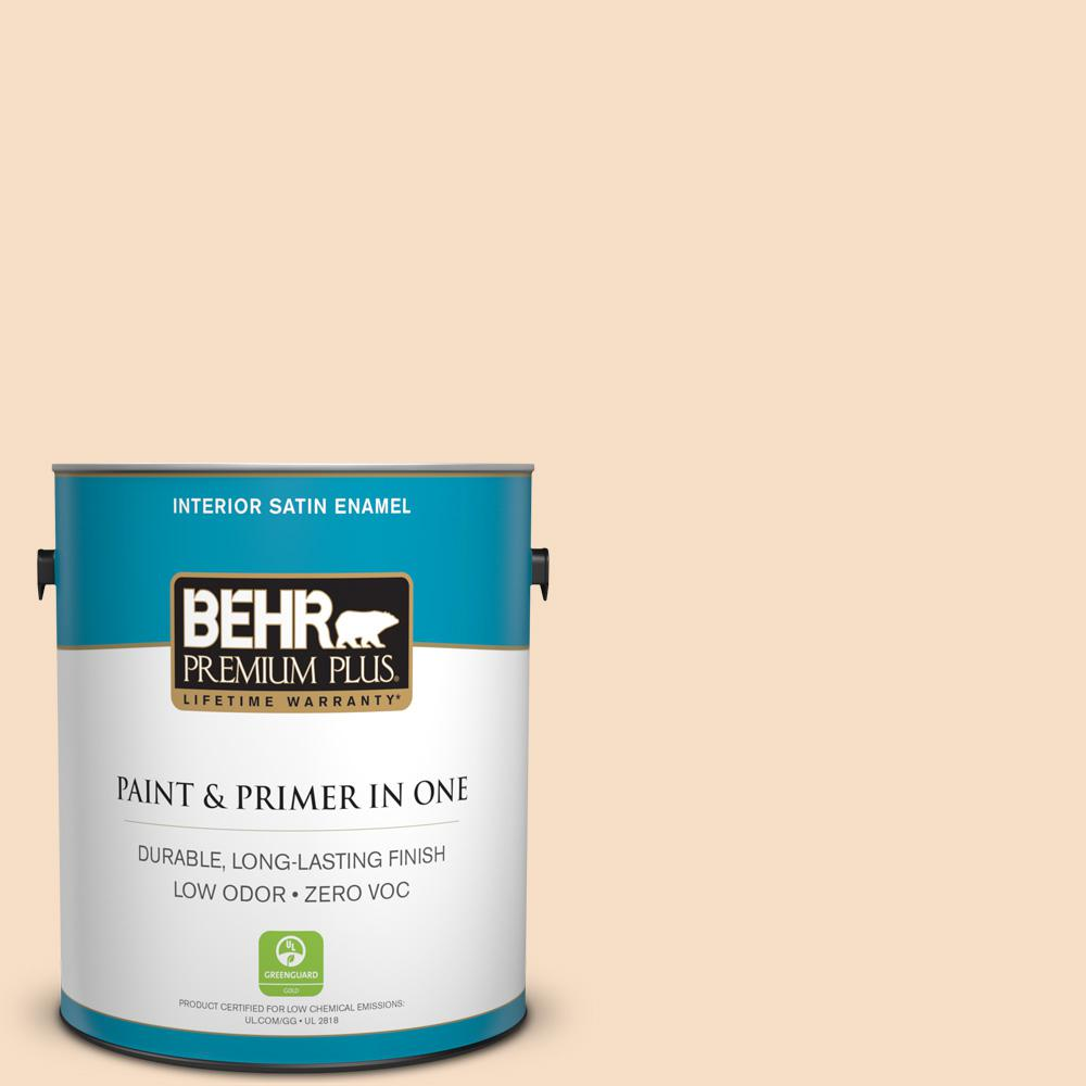 1-gal. #HDC-SP14-3 Faint Peach Zero VOC Satin Enamel Interior Paint