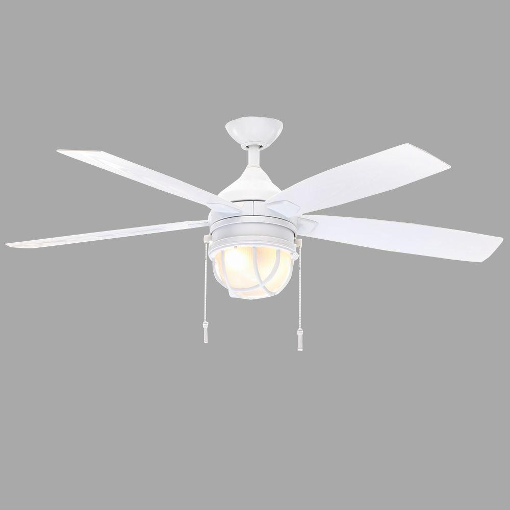 Hampton Bay Seaport 52 In. LED Indoor/Outdoor White Ceiling Fan AL634 WH    The Home Depot
