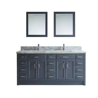 Calais 75 in. W x 22 in. D Vanity in Pepper Gray with Marble Vanity Top in Gray with White Basin and Mirror