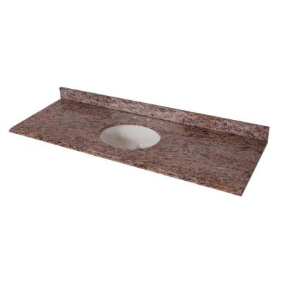 61 in. Stone Effects Vanity Top in Santa Cecilia with White Bowl