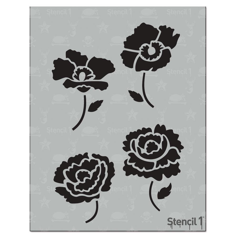 Stencil1 Peonies and Poppies Stencil