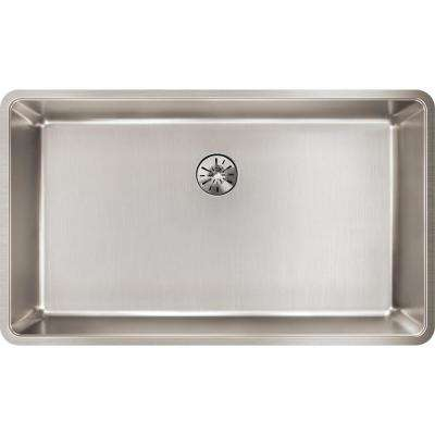 Lustertone Iconix Perfect Drain Undermount Stainless Steel 33 in. Single Bowl Kitchen Sink