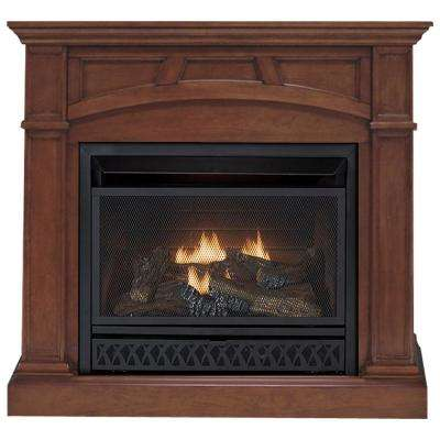 43 in. Convertible Vent-Free Dual Fuel Gas Fireplace in Cherry