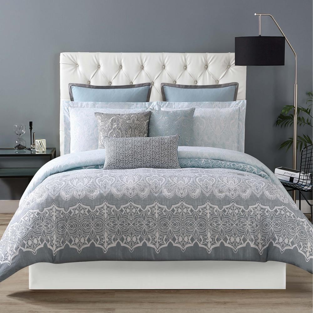 Ombre Lace Blue King Duvet with Pillow Shams
