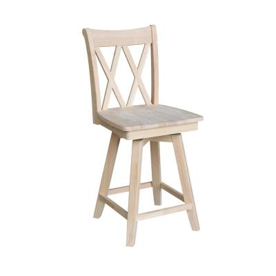 Double X Back 24 in. Unfinished Wood Swivel Bar Stool
