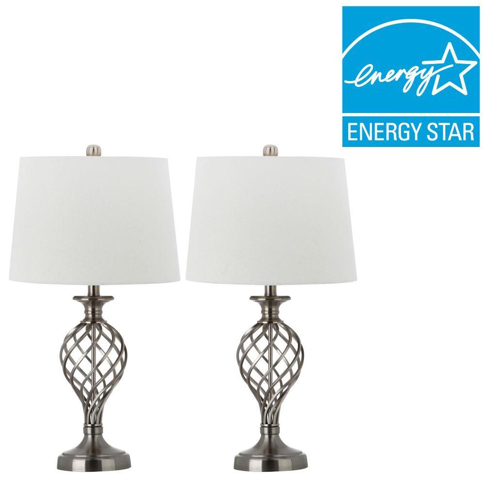 Safavieh Lattice Urn 26.75 inch Nickel Table Lamp (Set of 2) by Safavieh