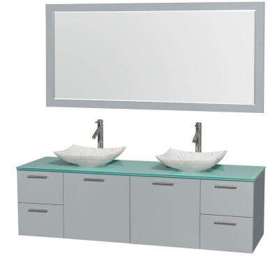 Amare 72 in. W x 22.25 in. D Vanity in Dove Gray with Glass Vanity Top in Green with White Basins and 70 in. Mirror