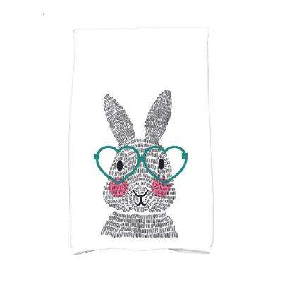 16 in. x 25 in. Teal What's Up Bunny Holiday Animal Print Kitchen Towel
