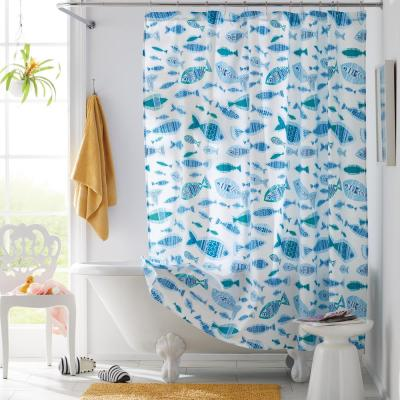 Ocean Fish 72 in. Multicolored Graphic Cotton Percale Shower Curtain