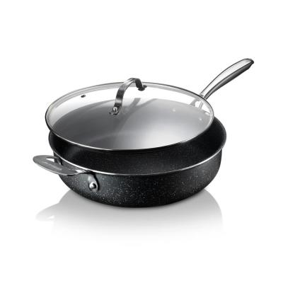 5.5 Qt. Aluminum Ultra-Durable Non-Stick Diamond Infused Deep Saute Pan with Glass Lid and Helper Handle