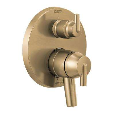 Trinsic 2-Handle Wall-Mount Valve Trim Kit with 3-Setting Integrated Diverter in Champagne Bronze (Valve not Included)