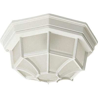 Crown Hill 2-Light White Outdoor Flushmount