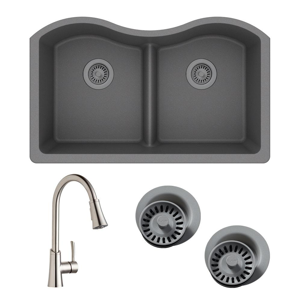 Quartz Classic All-in-One Undermount Composite 33 in. Double Bowl Kitchen Sink