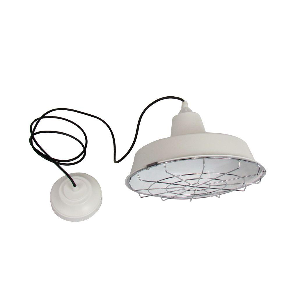 HomeSelects 1-Light White Hanging Pendant with CFL Bulb and Removable Wire Guard