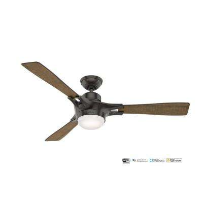Signal – Wifi Enabled Apple HomeKit/Google Home/Alexa 54 in. Indoor Noble Bronze Ceiling Fan with Light Kit and Remote