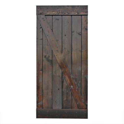 36 in. x 84 in. Dark Chocolate Stain Knotty Pine Sliding Interior Barn Door Slab