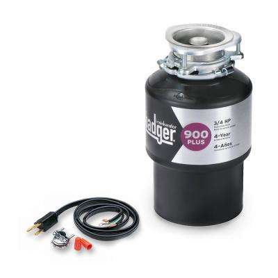 Badger 900 Plus 3/4 HP Continuous Feed Garbage Disposal with Power Cord Kit