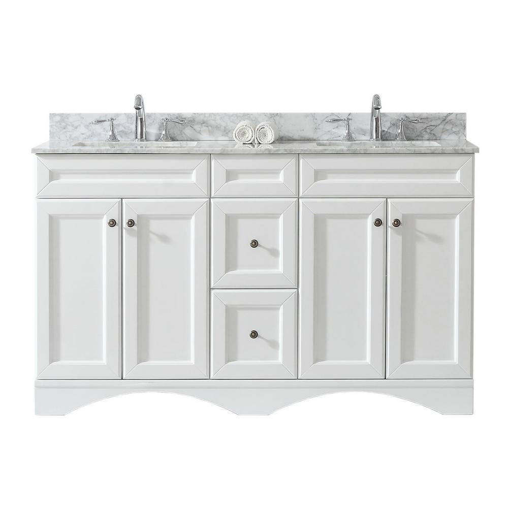 Virtu USA Talisa 60 in. W Bath Vanity in White with Marble Vanity Top in White with Square Basin