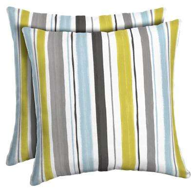 16 x 16 Aquamarine Kenda Stripe Square Outdoor Throw Pillow (2-Pack)