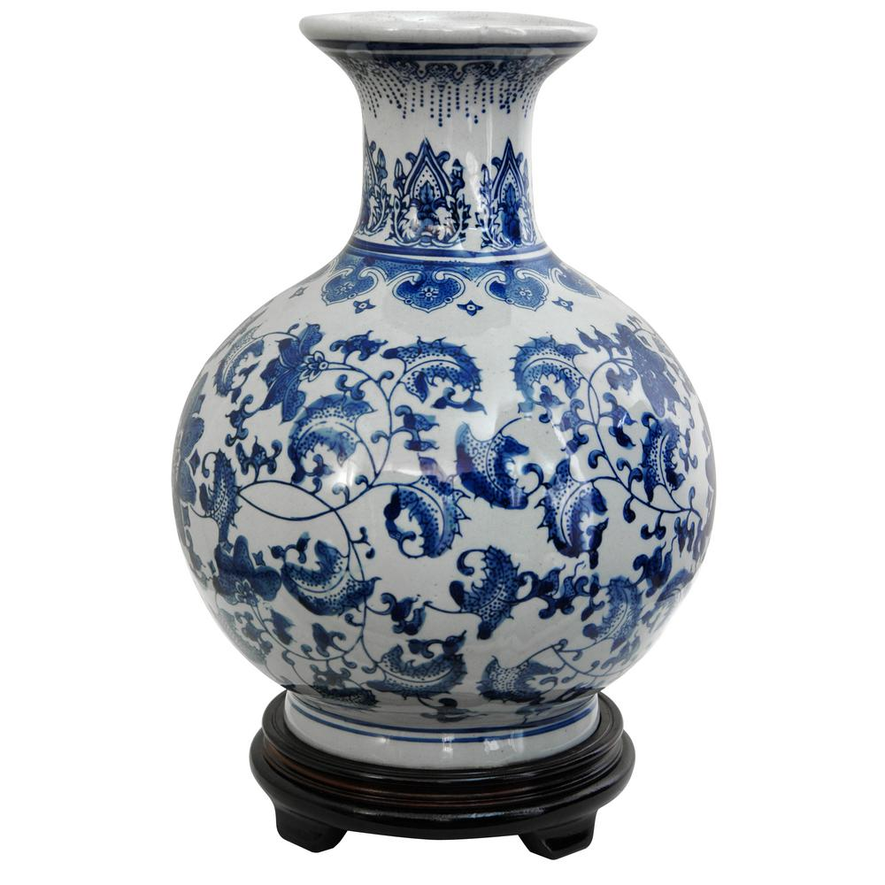 Oriental furniture 12 in porcelain decorative vase in blue bw oriental furniture 12 in porcelain decorative vase in blue reviewsmspy