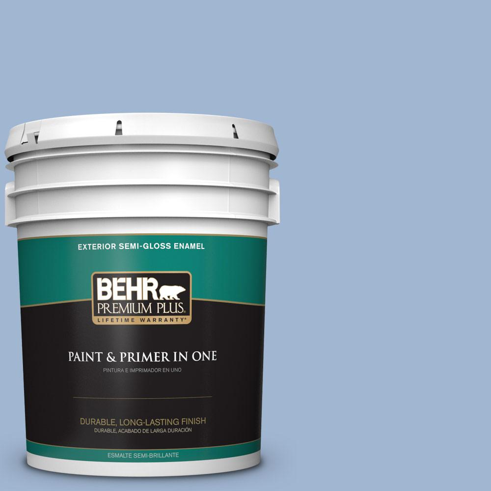 5 gal. #PPU14-10 Blue Suede Semi-Gloss Enamel Exterior Paint