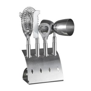 Click here to buy Visol Bar Pro Stainless Steel 4-Piece Bar Set by Visol.
