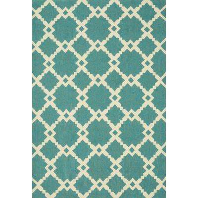 Ventura Lifestyle Collection Turquoise/Ivory 3 ft. 6 in. x 5 ft. 6 in. Area Rug