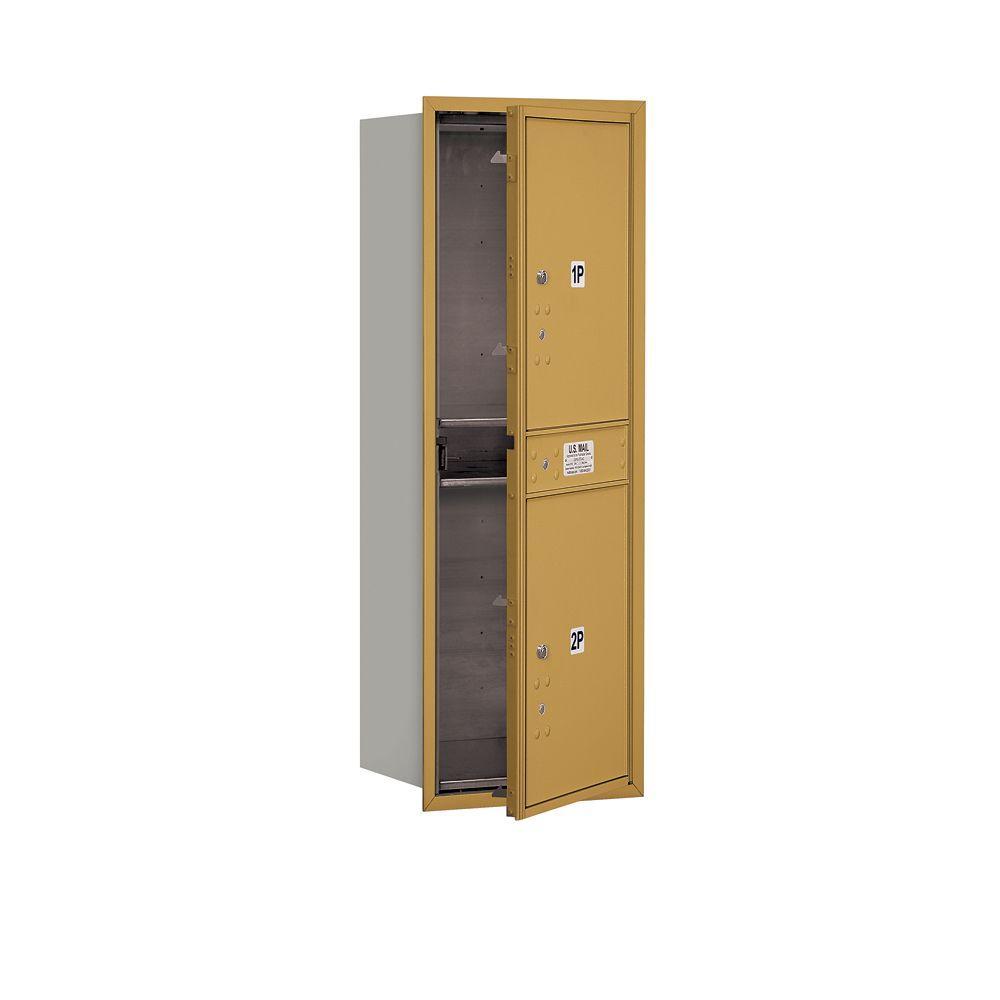 41 in. H x 16 3/4 in. W - Parcel Locker - 2 PL5's - Gold - Front Loading