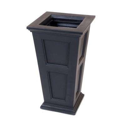 Fairfield 16 in. Square Black Plastic Column Planter
